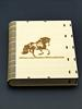 Book Style Diary Case for a journal or wedding book, Laser Cut From Plywood with laser engraved horse