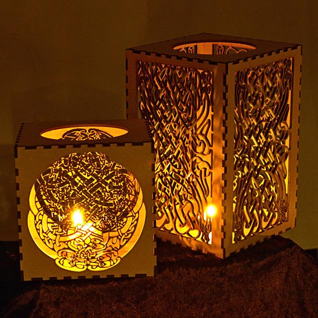 Series of candle lanterns with celtic knot patterns these light